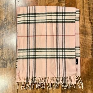 LORD & TAYLOR Pink Plaid Scarf with Fringe